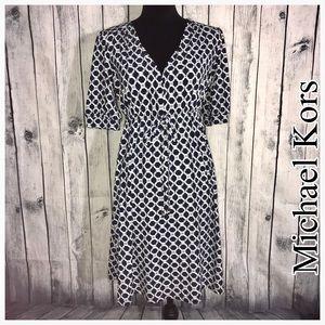 Michael Kors Printed V- Neck Dress